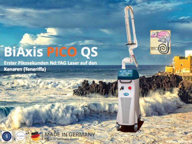 Erster Pikosekundenlaser BiAxis PICO QS aus Deutschland ist bei Tattoo-off auf Teneriffa gelandet